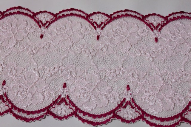 画像4: 5m!幅14cm美しい薔薇柄ラッセルストレッチレース ピンク/ローズ