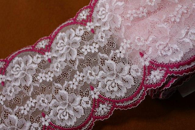 画像1: 5m!幅14cm美しい薔薇柄ラッセルストレッチレース ピンク/ローズ