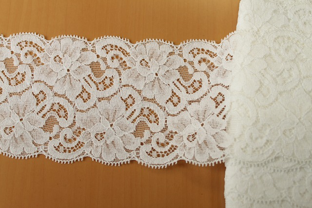 画像2: お買い得!10m!幅8.5cm薔薇柄リバーストレッチレース オフホワイト