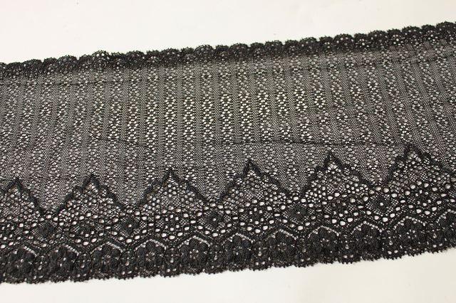 画像3: 5m!幅16.5.cm透け感のある小花柄ラッセルストレッチレース 黒