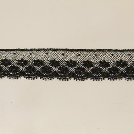 画像3: 5m!幅2cm美しいフランス製リバーレース 黒
