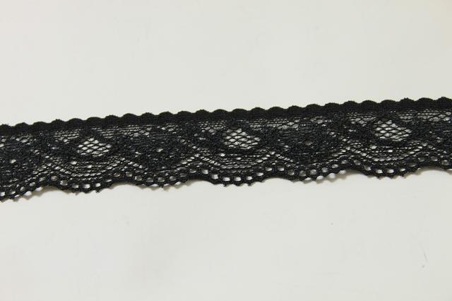 画像2: 20m!幅2.9cm綺麗な薔薇柄ラッセルストレッチレース 黒