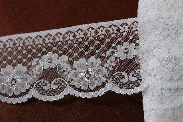 画像1: 5m!6.7cm小花柄ラッセルレース 銀ラメ/ホワイト
