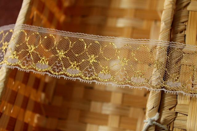 画像3: 5m!3.4cm小花柄ラッセルレース 金ラメ/ホワイト
