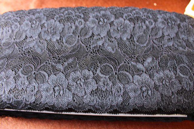 画像4: 6m!幅13.5cmお花とリボン柄ラッセルストレッチレース 黒