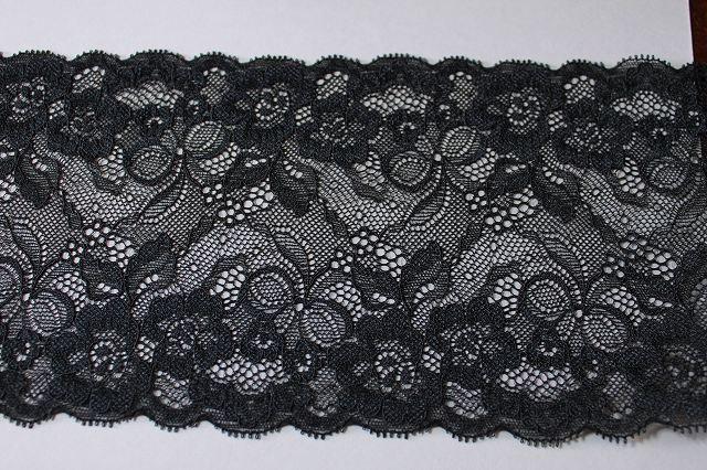 画像1: 6m!幅13.5cmお花とリボン柄ラッセルストレッチレース 黒