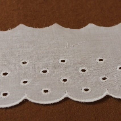 画像1: 13.7m!幅6.5cmドット柄可愛い綿レース ホワイト