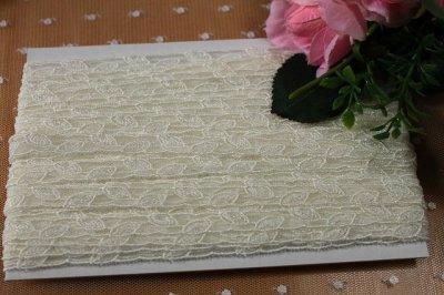 画像3: チュールレース オフホワイト 幅0.8cm繊細な葉柄 13m巻!