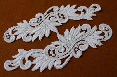 画像3: 1セット2枚組!27cm美しい綿ケミカルアップリケ ホワイト