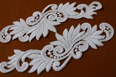 画像2: 1セット2枚組!27cm美しい綿ケミカルアップリケ ホワイト