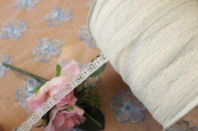 画像2: リバーストレッチレース オフホワイト 2m巻!幅1.1cm車輪と小花柄