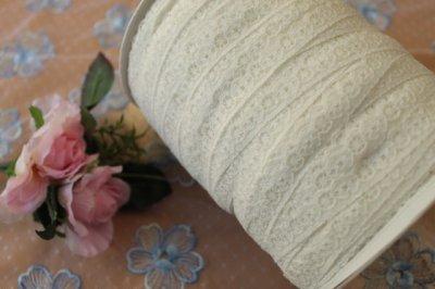 画像3: リバーストレッチレース オフホワイト 2m巻!幅1.1cm車輪と小花柄