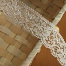 画像3: ストレッチリバーレース オフホワイト 1m!幅2.7cm花柄 (3)