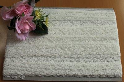 画像2: ストレッチリバーレース オフホワイト 1m!幅2.7cm花柄