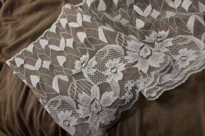 画像2: ラッセルレース ホワイト 1m!幅19cm花柄
