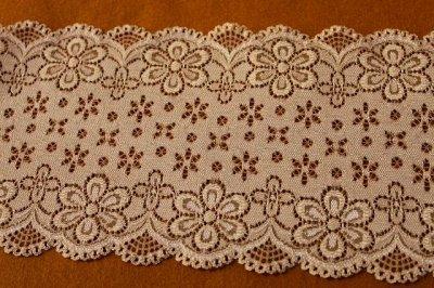 画像1: ラッセルストレッチレース モカブラウン 幅12.5cm可愛い花柄 3m巻