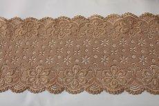 画像3: ラッセルストレッチレース モカブラウン 幅12.5cm可愛い花柄 3m巻 (3)