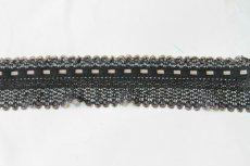 画像1: 150円!3m!幅3.1cm可愛いラッセルストレッチレース 黒/オフホワイト (1)