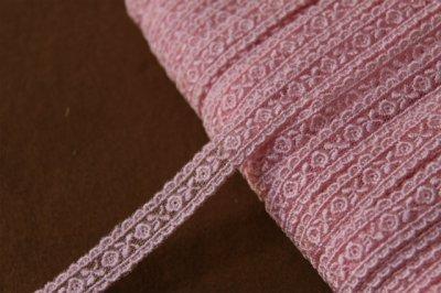 画像2: 激安5.5m!幅1.4cm両山可愛い薔薇柄チュールレース ピンク