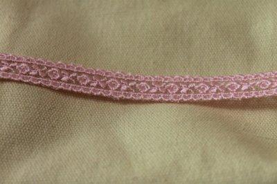 画像1: 激安5.5m!幅1.4cm両山可愛い薔薇柄チュールレース ピンク