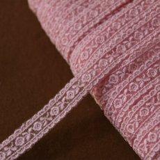 画像1: 激安5.5m!幅1.4cm両山可愛い薔薇柄チュールレース ピンク (1)