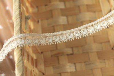 画像3: ストレッチリバーレース オフホワイト 5m!幅1.1cmドット柄