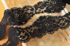 画像1: 34m!幅4.5cm美しい薔薇柄ストレッチリバーレース 黒 (1)