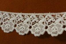 画像2: 3m!幅6.5cm美しい刺繍の花柄綿ケミカルレース オフホワイト (2)