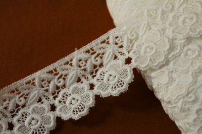 画像3: 3m!幅6.5cm美しい刺繍の花柄綿ケミカルレース オフホワイト