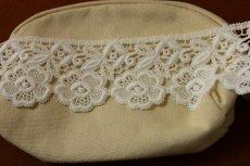 画像4: 3m!幅6.5cm美しい刺繍の花柄綿ケミカルレース オフホワイト (4)