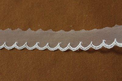 画像2: お買い得6.5m!幅2.5cm可愛いスカラ柄チュールレース ホワイト