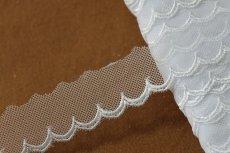 画像1: お買い得6.5m!幅2.5cm可愛いスカラ柄チュールレース ホワイト (1)