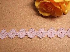 画像2: 5m!幅1.7cmお花が連続した綿トーションレース パープル (2)