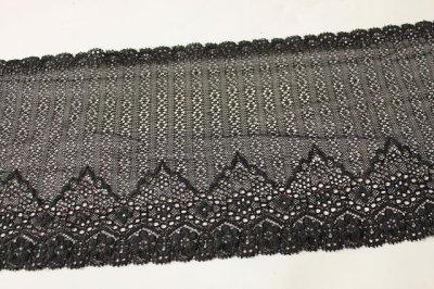 画像1: 5m!幅16.5.cm透け感のある小花柄ラッセルストレッチレース 黒