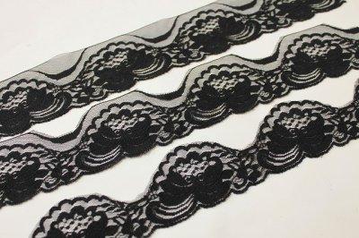 画像2: 業務用にも日本製520m!幅5.8cm薔薇柄ラッセルレース 黒