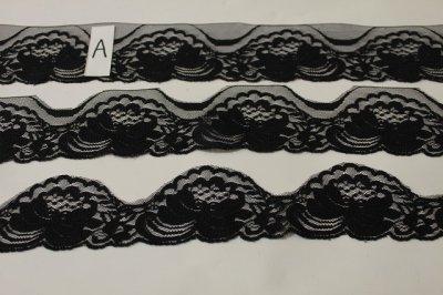 画像1: 業務用にも日本製520m!幅5.8cm薔薇柄ラッセルレース 黒