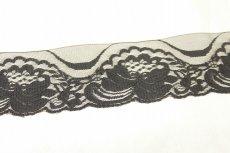 画像2: 業務用にも日本製520m!幅5.8cm薔薇柄ラッセルレース 黒 (2)