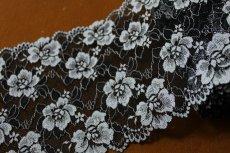 画像1: 送料無料!49m!幅17.2cm薔薇がいっぱいラッセルストレッチレース 黒オフホワイト (1)