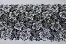 画像3: 5m!幅17.2cm薔薇がいっぱいラッセルストレッチレース 黒オフホワイト (3)