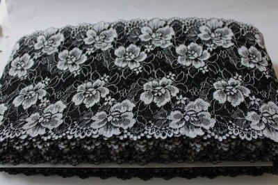 画像3: 5m!幅17.2cm薔薇がいっぱいラッセルストレッチレース 黒オフホワイト