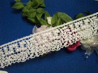 画像2: 3m!幅3cm綺麗な小花と葉柄綿ケミカルレース 白