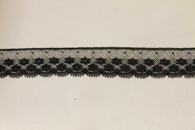 画像1: 5m!幅2cm美しいフランス製リバーレース 黒