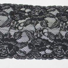 画像2: ラッセルレース 黒 5m巻!幅16.5cm大胆な薔薇柄 (2)