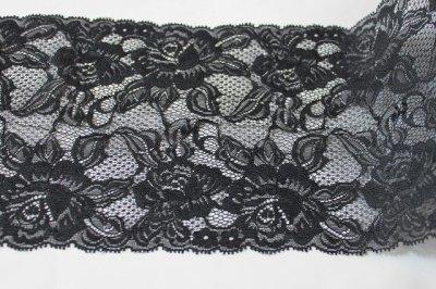画像1: ラッセルレース 黒 5m巻!幅16.5cm大胆な薔薇柄