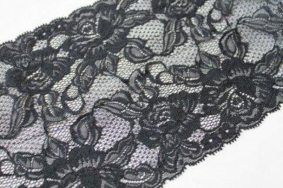 画像3: ラッセルレース 黒 5m巻!幅16.5cm大胆な薔薇柄