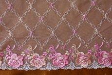 画像2: 幅23.2cm美しい薔薇柄チュールレース ピンク (2)