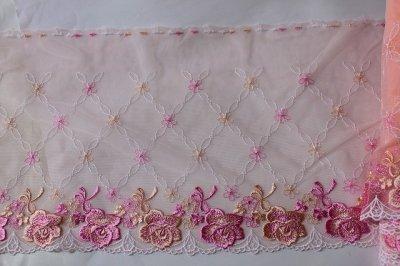 画像2: 幅23.2cm美しい薔薇柄チュールレース ピンク
