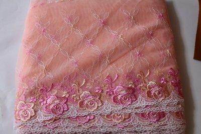 画像3: 幅23.2cm美しい薔薇柄チュールレース ピンク