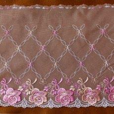 画像1: 幅23.2cm美しい薔薇柄チュールレース ピンク (1)