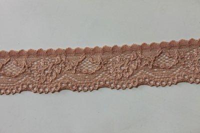 画像2: 31m!幅3cm綺麗な薔薇柄ラッセルストレッチレース ブラウン